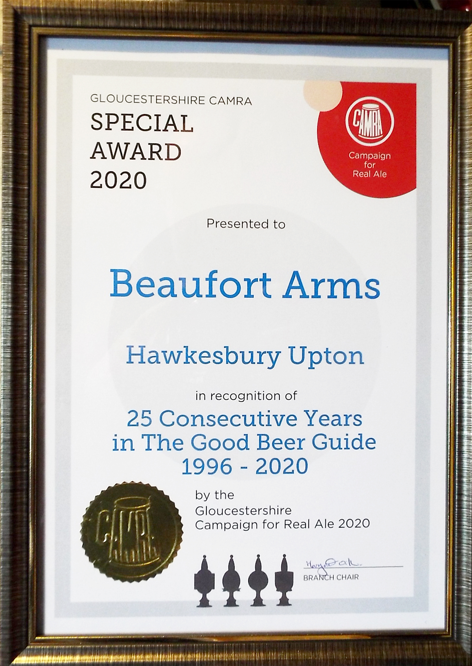 Beaufort Arms - Certificate in recognition of 25 consecutive years in the Good Beer Guide